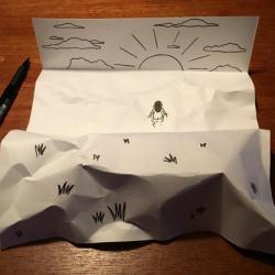Des scènes 3D avec des feuilles en papier