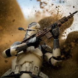 Des stormtroopers jouet pour représenter les combats de l'US Marine