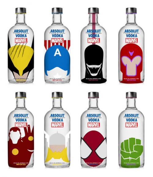 Absolut Vodka Marvel des bouteilles de superhéros