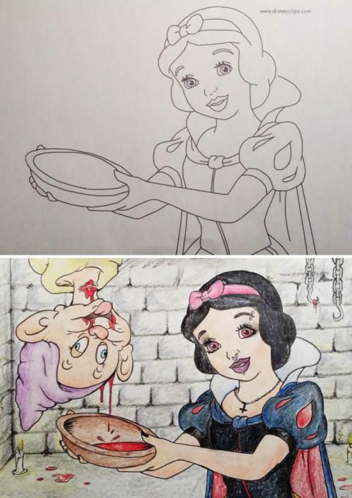 Des coloriages pour enfants détournés en images gores