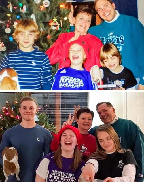 Des familles qui reproduisent à la perfection les photos du passé