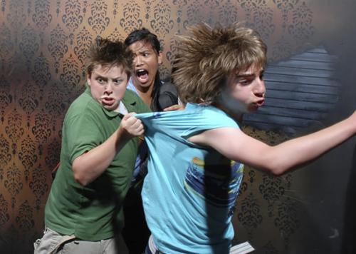 Photos de visiteurs effrayés dans une maison hantée