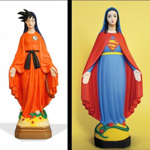 Détourner des statues de la vierge Marie en objet d'art contemporain